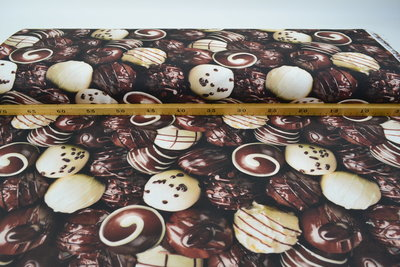 Katoen Canvas Stof Digitaal Chocolade