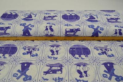 Katoen Canvas Stof Digitaal Delfts Blauw Tegels