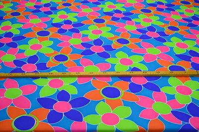 Bedrukt Polyester Blauw met bloemen